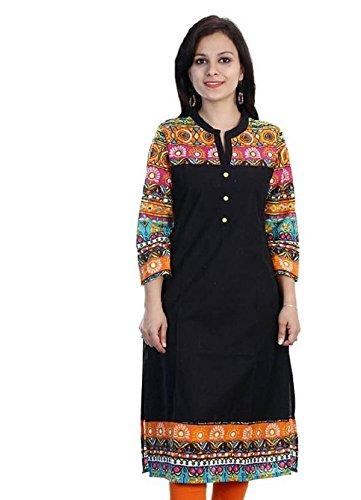 Kurti (Bankcroft Export Women\'s Printed Black cotton Kurti_X_large Size)