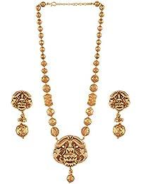 AccessHer Gold Plated Lakshmi Temple Necklace Set For Women
