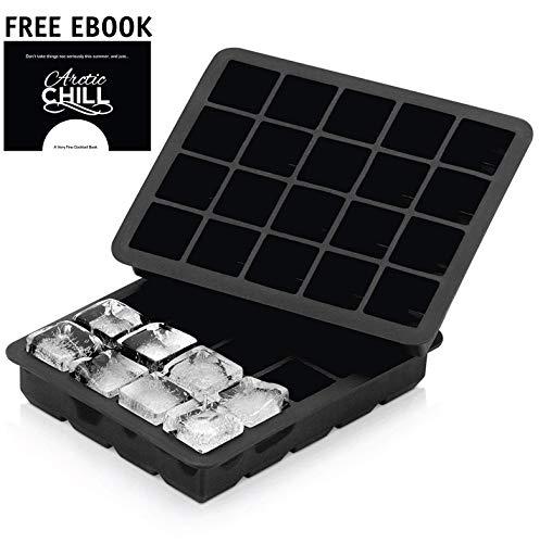 Arctic Chill 2,5 cm Silikon Eiswürfelformen - grosse Eiswürfelform perfect für Whiskey and Cocktails | BPA frei | Spülmaschinen und Mikrowellen geeignet (2er Pack)