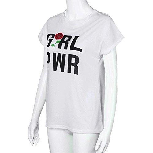 CYBERRY.M T-shirt Été Casual Femme Manches Courtes Bff Lettre Imprimé Tee Top Blanc