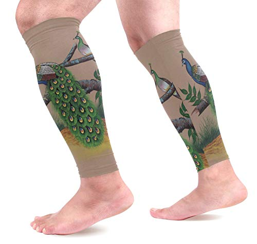 Wfispiy Peacock Painting Calf Compression Sleeves Shin Splint Support Leg Protectors Calf Pain Relief for Running, Cycling, Travel, Sports for Men Women (1 Pair) -