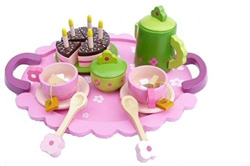 Teeservice SLH 2170 rosa mit grüner Kanne Puppen-Teeservice | Kinder-Kaffeeservice | pink-grünes-Design | mit Tablett, Kanne, Tassen und Teller, Lööfel und Geburtstagstorte |Holzspielzeug-Peitz -
