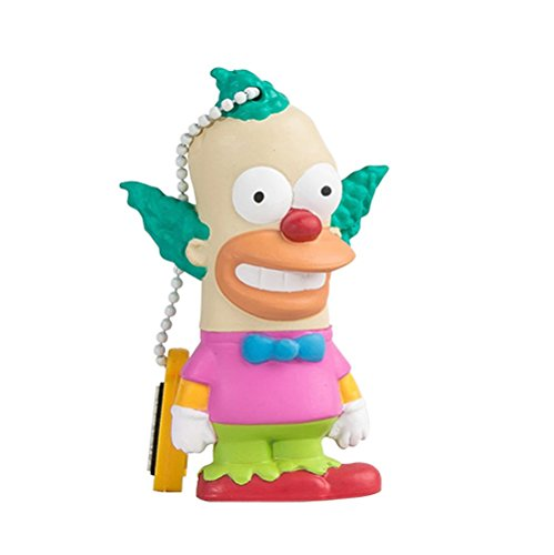 Tribe simpsons krusty il clown chiavetta usb da 8 gb pendrive memoria usb flash drive 2.0 memory stick, idee regalo originali, figurine 3d, archiviazione dati usb gadget in pvc con portachiavi - multicolore