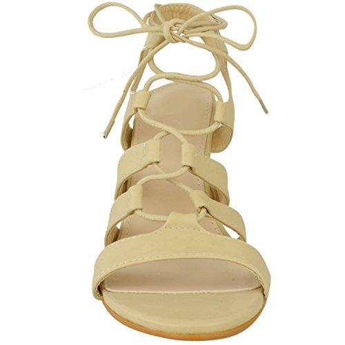 Femmes Semelle Compensée Bride Mi Sandales Talon Haut Lacet Découpe Chaussures Pointure Simili-cuir Couleur Chair