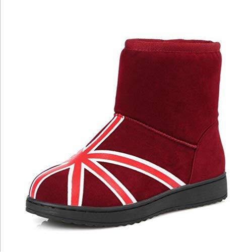 Hy Frauen Stiefel Winter Warm Plus Kaschmir Booties/Student Warm Winddicht Snowproof Winter Stiefel/Flache Ski Schuhe Damen Fashion Stiefel Größe: 31-40 (Farbe : Rot, Größe : 31)