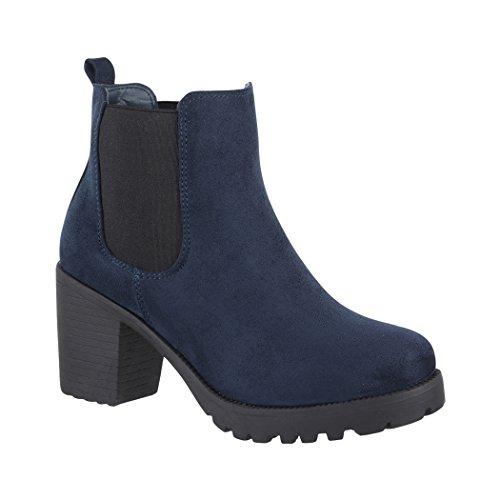 Elara Damen Stiefelette | Bequeme Ankle Boots| Chunkyrayan 2018 C166-2-Dk.Blue-39