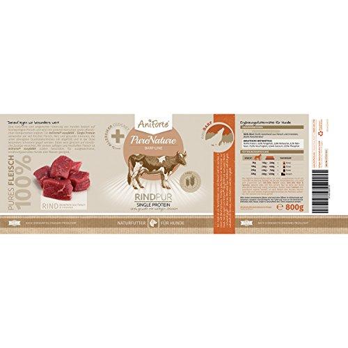 AniForte® PureNature EasyBarf Hundefutter- Naturprodukt für Hunde (Rind Pur, 6x800g) - 4