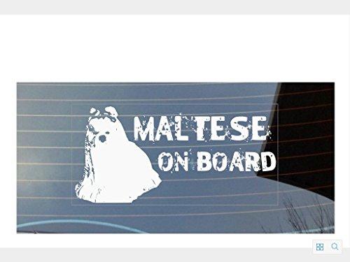 Malteser On Board Auto Fenster Aufkleber–weiß (Pfote Drucken Haustier-schüssel)