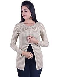Ogarti Women's Woolen Cardigan(919camel, Beige, Free Size)