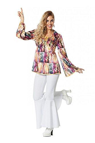 shoperama 70er Jahre Disco Shirt Seventies Oberteil 70's Bluse für Seventies Damen Kostüm, Größe:46