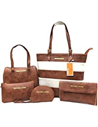 MK Combo Handbag For Woman Branded | Z Set Of 5 Handbag,Sling Bag,Wallet,Shoulder Bag & Coin Pouch| Premium PU...