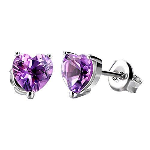 Bigboba - orecchini a perno in argento, a forma di cuore, con zircone, per donne e ragazze, regalo di compleanno, colore: purple, cod. tp-3gnk-w2fvby21