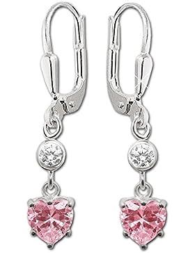CLEVER SCHMUCK Silberne Ohrhänger 28 mm Zirkonia Herz pink mit Zirkonia weiß glänzend STERLING SILBER 925 im Etui