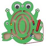 Wovemster Forma Linda De Madera De La Historieta Del Animal Juguete Educativo Del Laberinto Magnético Regalo Perfecto Para Desarrollar La Inteligencia De Los Niños 1 PC (rana)