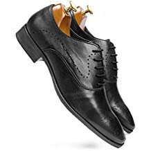 one8 Select by Virat Kohli Men's Black Leather Brogue Shoes