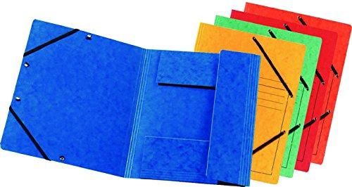 FALKEN Premium carpeta de de extrafuerte Colorspan de cartón con 3solapas interiores, DIN A4con 2goma Trenes de colores surtidos 10Pack Juris–Carpeta Carpeta documentos carpeta Ideal para la oficina y la organización mobile