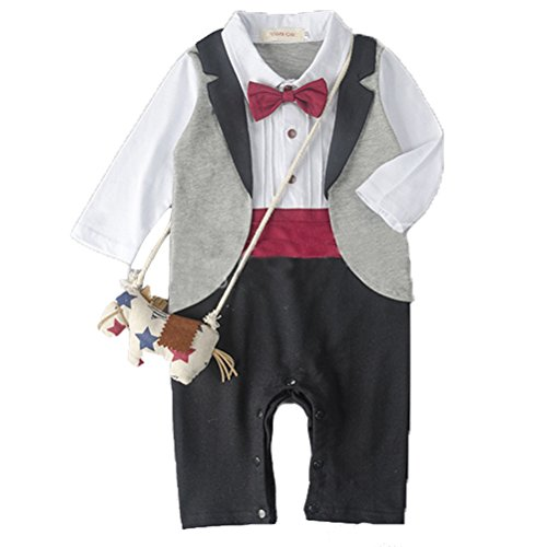 Laixing À la mode Baby Boys Tuxedo Gentleman Long Sleeved Jumpsuit with Bowknot Wedding Suit