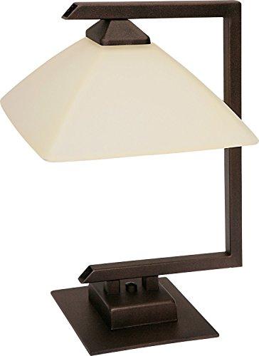 Weiße Tischlampe Vintage Glasschirm eckig H:370cm Gestell Braun E27 Tischleuchte Wohnzimmer Flur Nachttisch - Glasschirm Tischlampe