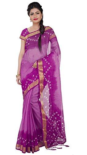 Rajnandini Women's Purple Kota Silk Cotton Bandhani Printed Saree