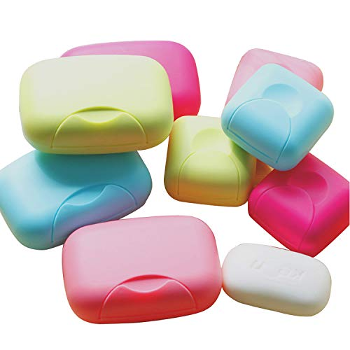 SwirlColor Pack of 4 Travel Camping Home Bathroom Soap Dish Case , Assorted Colors