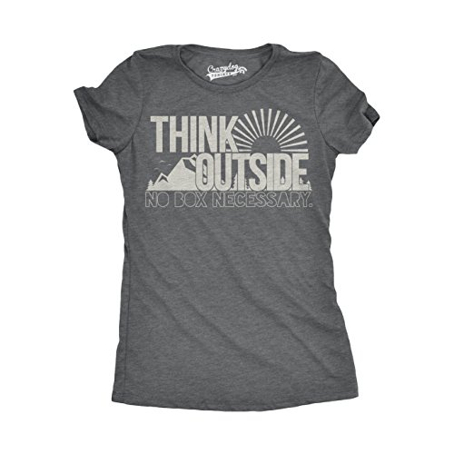 Crazy Dog Tshirts - Womens Think Outside No Box Necessary Funny Outdoor Nature T Shirt (Dark Heather Grey) - S - Damen - S -