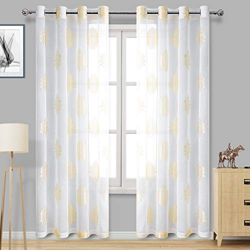 DWCN Vorhang aus Voile, durchscheinend, mit Ösen, aus Leinen, für Schlafzimmer 52 x 84 Jacquard|Ivory -