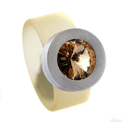 """Glanzwelten """"Change Damen Ring mit Swarovski Kristall zum auswechseln 10mm breit (champagen, 60 (19.1))"""