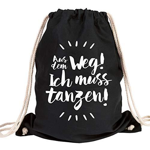 """JUNIWORDS Turnbeutel - Wähle ein Motiv & Farbe -\""""Aus dem Weg! Ich muss tanzen!\"""" (Beutel: Schwarz, Text: Weiß)"""