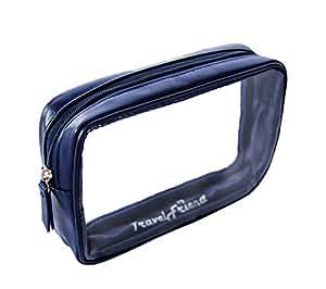 TravelFriend Kulturbeutel transparent für Handgepäck/Flüssigkeiten - Entspricht internationaler Flugsicherheitsvorschrift - maximal erlaubte Größe im Flugzeug (1 Liter) Kosmetiktasche durchsichtig