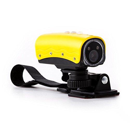 oneConcept Stealthcam 2G HD-Sportkamera Action Kamera Actioncam für Fahrrad, Motorrad und Unterwasser (1080p, Micro-SD-Karte bis 32GB, 15MP, inkl. Helm- und lenker-Halterung) gelb