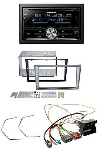 Pioneer FH-X730BT MP3 2DIN Bluetooth AUX CD USB Autoradio für Opel Antara Astra H Zafira B ab 2005- charcoal (Hinten Doppel-passe)