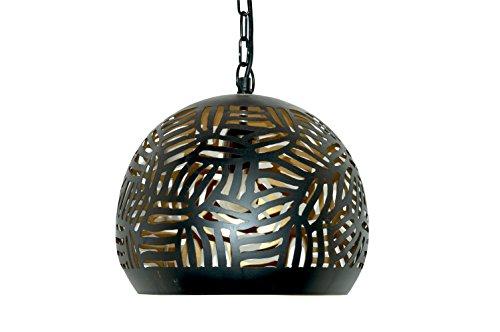 Emporio Arts lzc-648 B-BG Panier Zebra gravure Lampe à suspension abat-jour, fer, noir à l'intérieur or, E27, 40 Watts