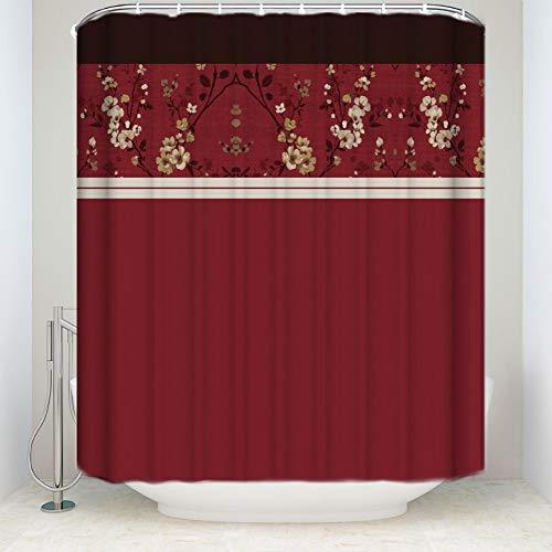 WZYMNYL Cortina de Ducha de Flor de Cacao Cortina de baño de Tela Impermeable de poliéster Rojo de 70 Pulgadas por 72 Pulgadas Producto de baño,90Wx180H CM