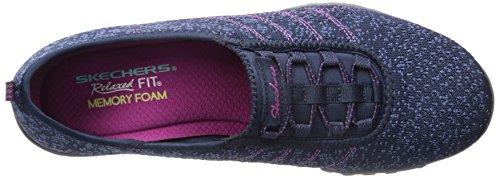 Skechers Breathe-easymeadows, Baskets Basses femme Navy/Blue Mesh/Fuchsia Trim