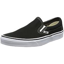 Vans Slip-on - Zapatillas bajas clásicas Canvas para adultos, suela blanca de zapato negro, 43 EU