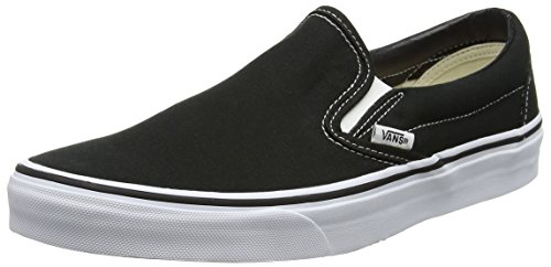 Vans Classic Slip-On Canvas, Mixte Adulte Noir (Black Shoe White Sole) 43