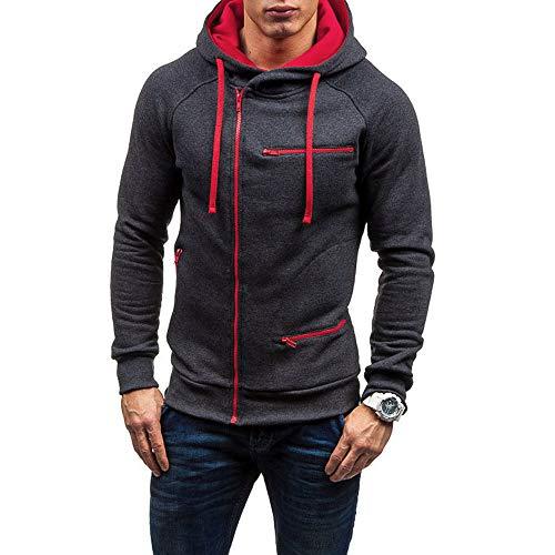 KPILP Herren Mode Übergröße Herbst Beiläufig Solide Langarm-Shirt Kapuzenpullover Sweatshirt Oberbekleidung Sportbekleidung(Grau, 3XL