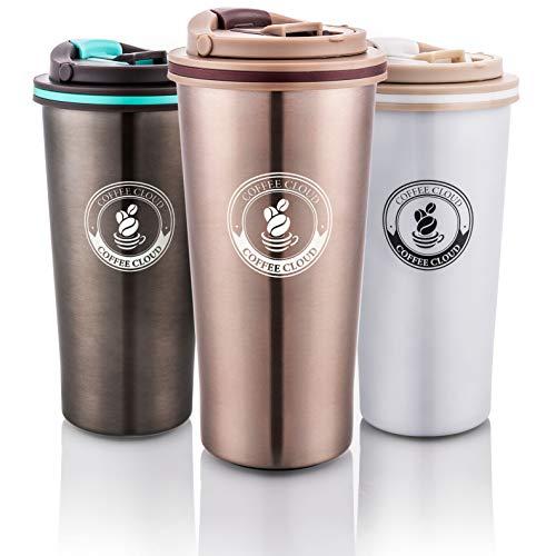 Edelstahl Kaffeebecher | 500ml | Doppelwandig vakuumisolierter Travel Mug | Thermobecher aus Edelstahl | Isolierbecher BPA Frei, Leicht & Auslaufsicher (Bronze)