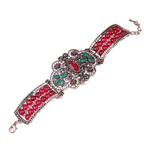 Azuo boemia retro fiori cavi strass braccialetto bracciale accessori,red