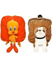 MGP Premium Orange Tweety & Brown Pug Dog Full Character Kids School Bag