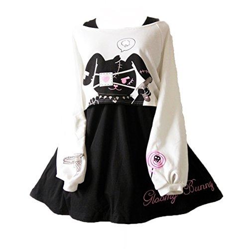 Himifashion print - kleid kawaii kaninchen 2 stücke für mädchen 2018 neue kleider - Kleider Neue