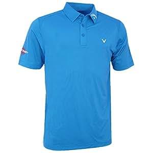Callaway Solid Interlock Men's Polo Shirt Short Sleeve Small  - Blue Aster