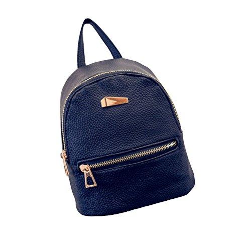 OULII Mini Rucksack Leder mit Reißverschluss Damen modische kleine Daypack Schultasche Mädchen (Schwarz)