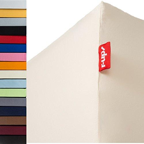 r-up Beste Spannbettlaken 140x200-160x220 bis 35cm Höhe viele Farben 95% Baumwolle / 5% Elastan 230g/m² Oeko-Tex stressfrei auch bei 160cm Breite (Natur) -