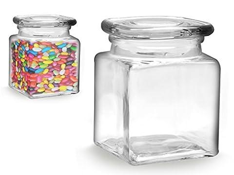 Bocal carré en verre avec couvercle
