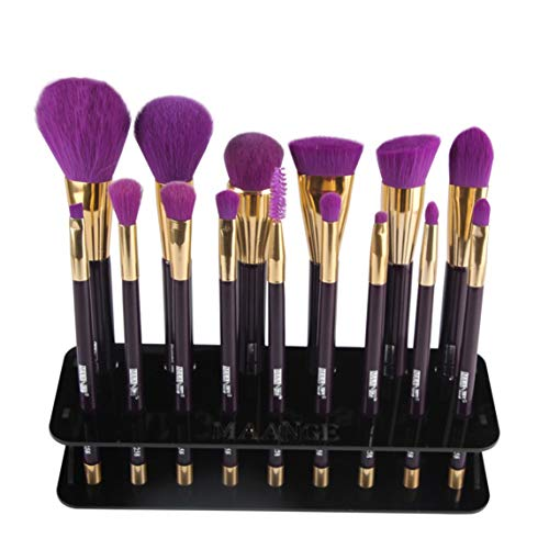 Footprintse brochas de maquillaje;brochas de maquillaje profesional Organizador para estantes 15 PM de maquillaje de pincel de maquillaje de 15 hoyos Estante cosmético Herramienta color: negro