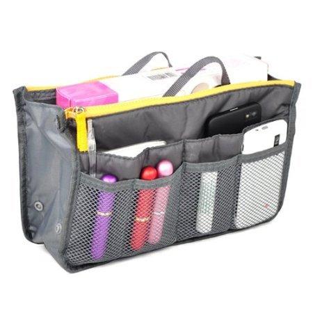 Borsa con 12 tasche interne, Organizer sacca da viaggio con tasca porta cosmetica