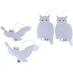 Homyl 4Stück Reflektierende Fliegende Eule Vogelabwehr mit Glocken zur Schrecken Tauben Spechte und Andere Wildvogel, Einfach zu aufhängen