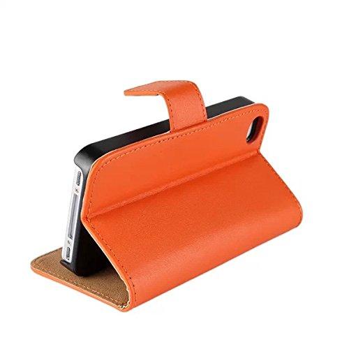 iPhone 4 4S Schutzhülle,COOLKE [Schwarz] Flip Cover für iPhone 4 4S Schutzhülle Hülle Schutzschale Schale Handytasche Tasche Etui Case Orange