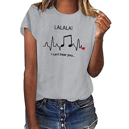 kolila Personalisiertes Drucken T Shirt Oberteile Casual Damen Sommer Basic Kurzarm Tops Bluse Pullover S-XXXL - Lurex Western Shirt